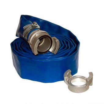 """Kit refoulement 3"""" pour PE-A3 : raccord pompier + 5 m de tuyau PVC plat Ø 80 + collier"""